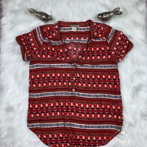 Lucky Brand Boho Style Short Sleeve Top Size S